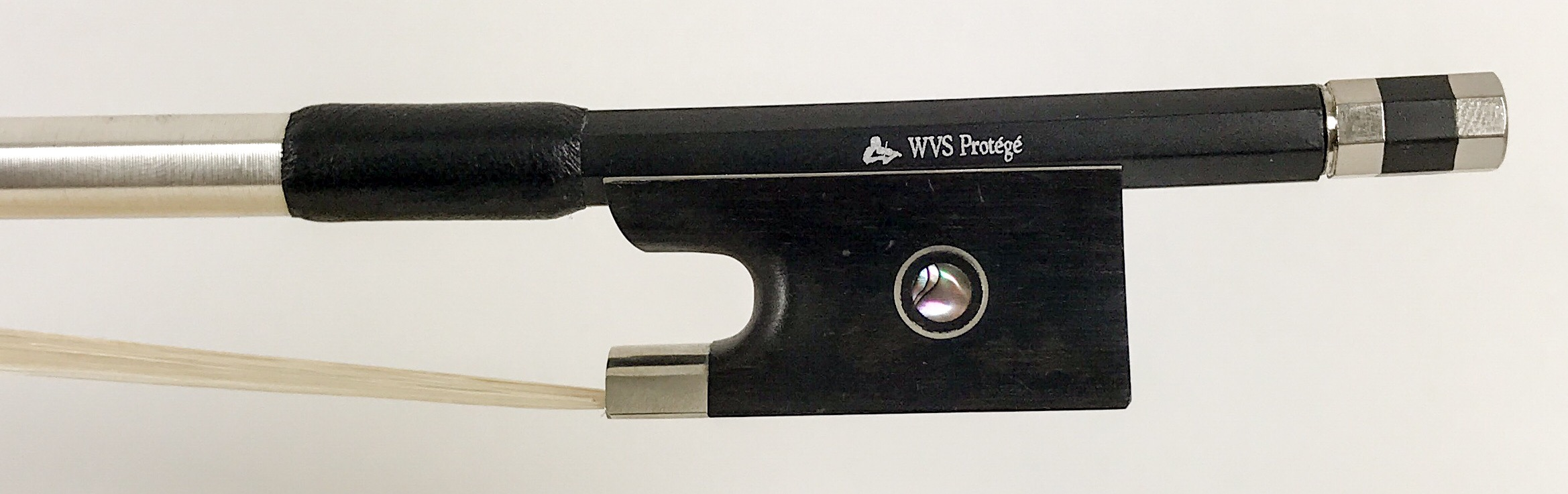 "WVS Protégé Composite Bow   Composite (Fiberglass/Carbon)   Violin - $62 / Viola - $69 / Cello - $88 / Bass - $130  The WVS Protégé violin bow is our most popular model for beginners to advancing students. The composite stick is made from carbon fiber & fiberglass. The rigidity helps with the common ""wiggle"" when playing long slow bow strokes and the balance is much more controllable than any other bows we have handled in this price range. This is a step up from typical fiberglass bows.   *Ask about our generous ""rehair program"" with the Protégé. Sizes: 4/4-1/16"