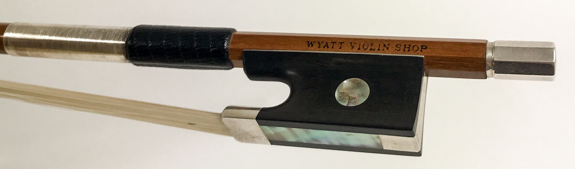 Wyatt Violin Shop   Silver Mounted Pernambuco   Violin - $300/ Viola $360/ Cello $450 / Bass n/a  These pernambuco bows are carefully hand selected by Mr. Wyatt. Quality of wood, balance, weight, and play-ability are the main focus when we aquire these wonderful bows. We brand our shops name on them to ensure we stand behind them 100%. An excellent value for a student wood bow.