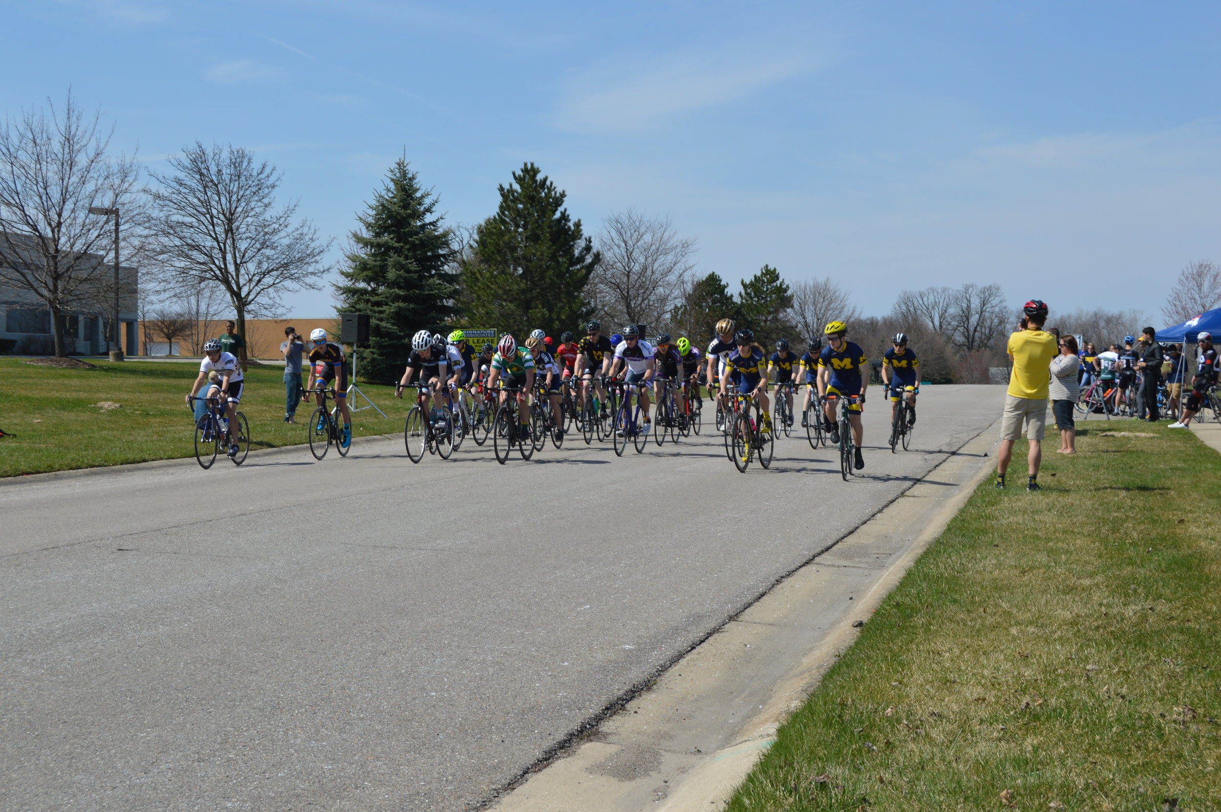 Starting line at the University of Michigan Criterium