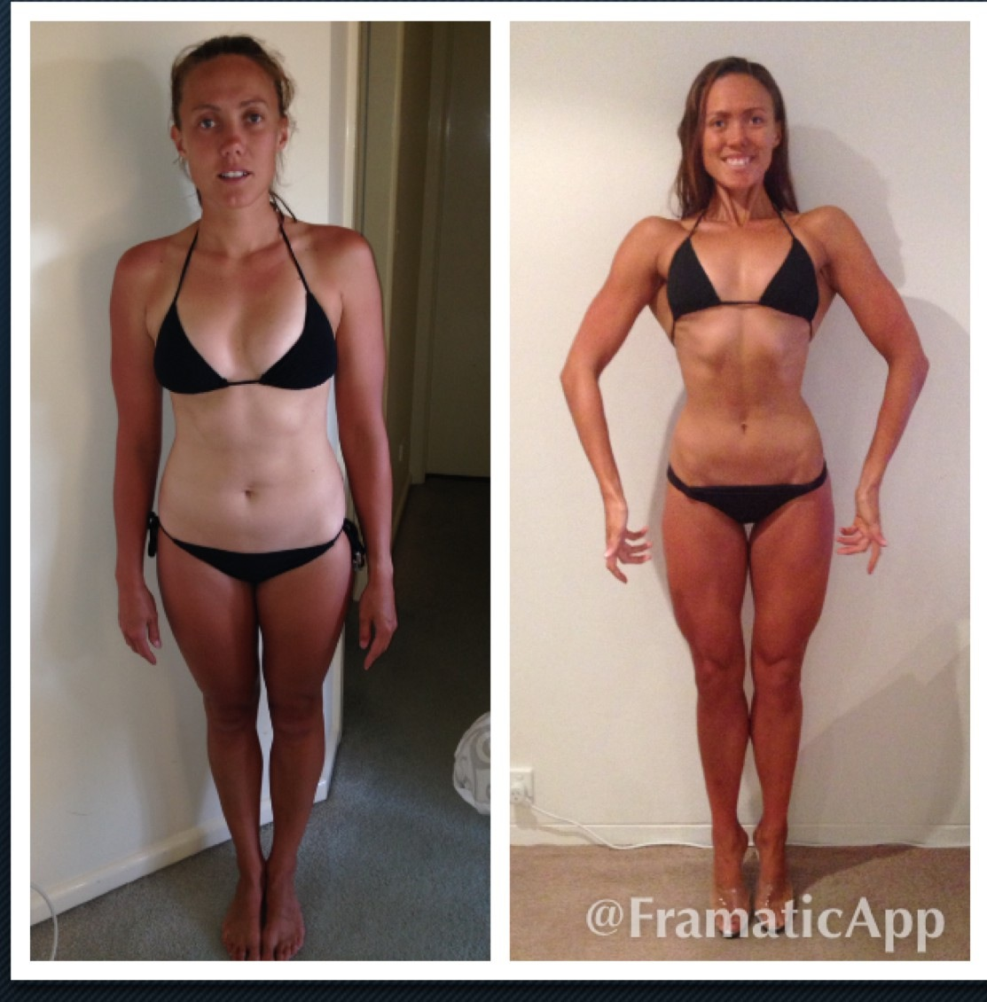 Before & After photo. 24 weeks of hard work and dedication. -9.5kgs & lost 12%BF