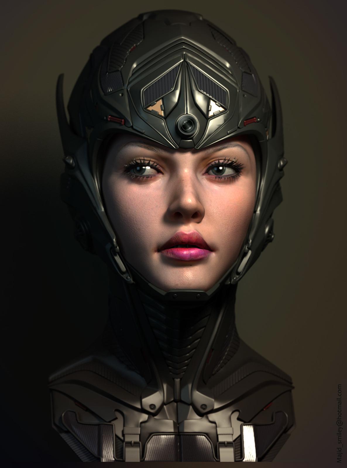 scifi girl-test render in Maya-VRay