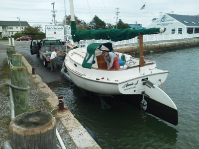 Fall haul-out for Annie S. - 26' Atlantic Cat