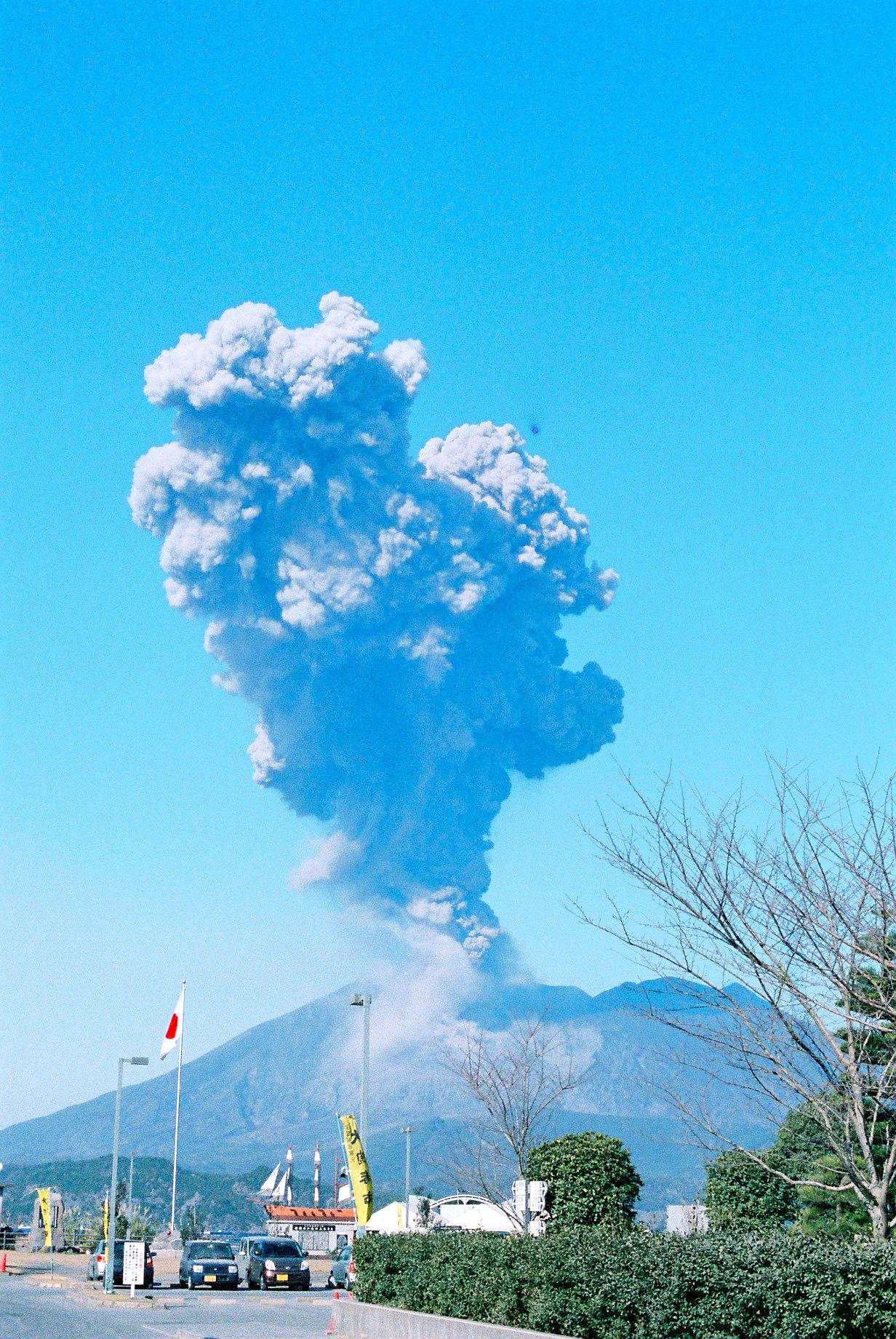 桜島からのお出迎え