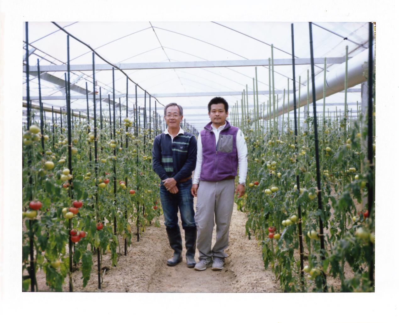 私たちの突然の訪問にも笑顔で案内いただいた、こだわりのトマト農家 島本さん親子。