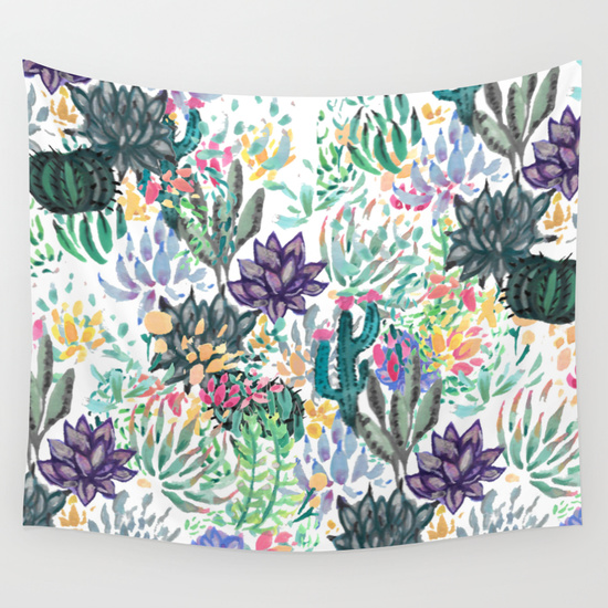 watercolour cacti photo booth backdrop