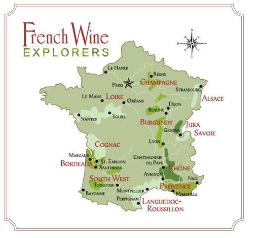 A Simple Map of Wine Regions in France  -  image: wine-tours-france.com