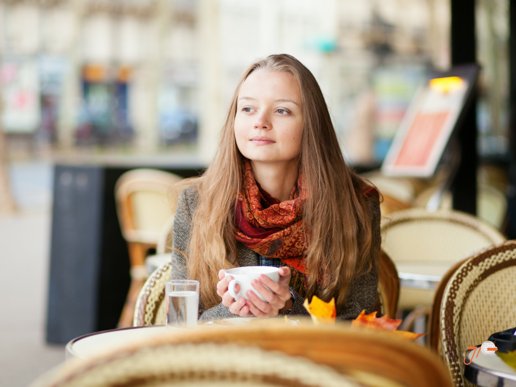 Girl at a French cafe