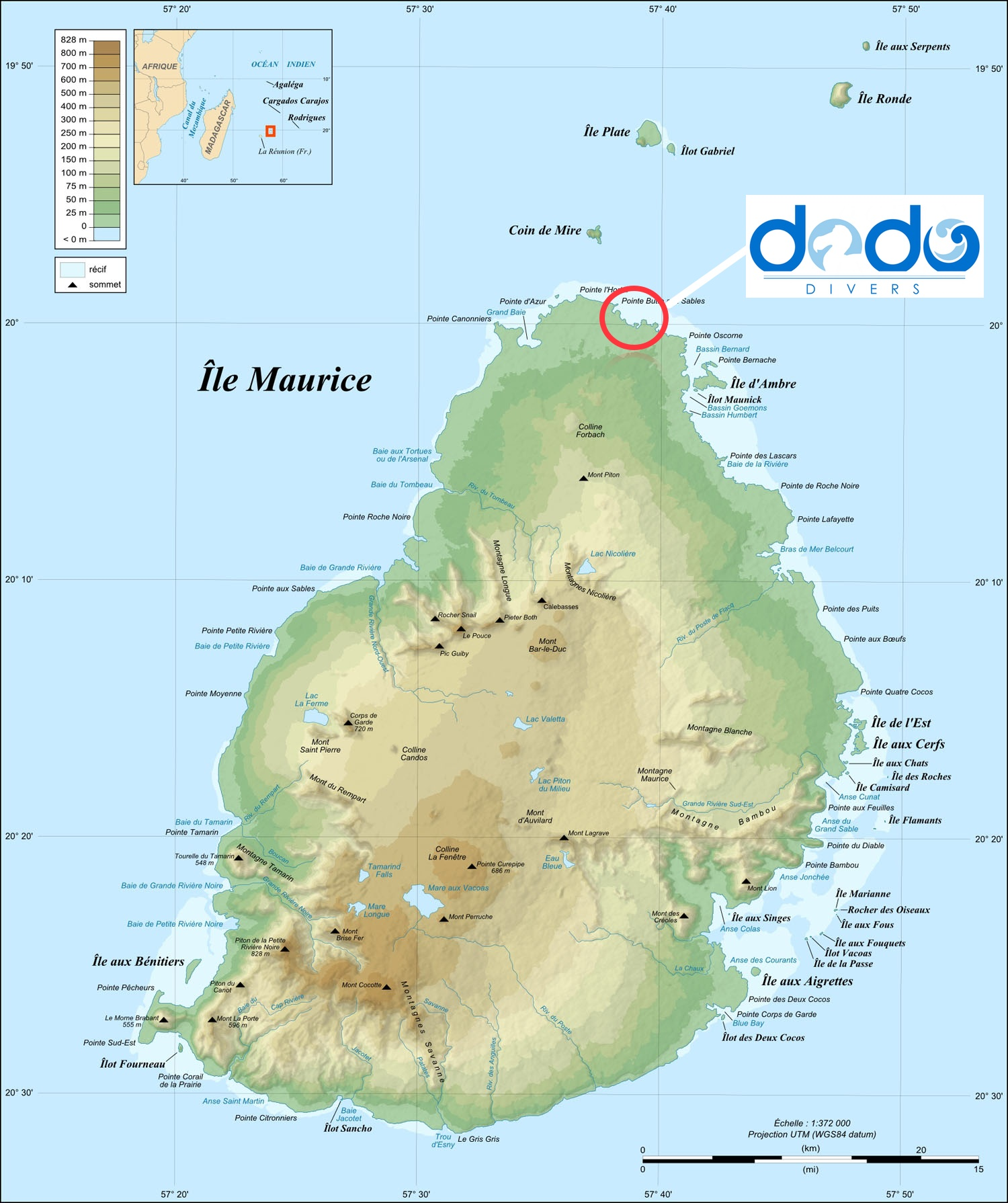 The Diving is located in the north of Mauritius
