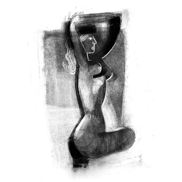 Another #figure #drawing I took a lil further. . #lifedrawing #art #illustration #nude #graphic #shape #charcoal #body #blackandwhite