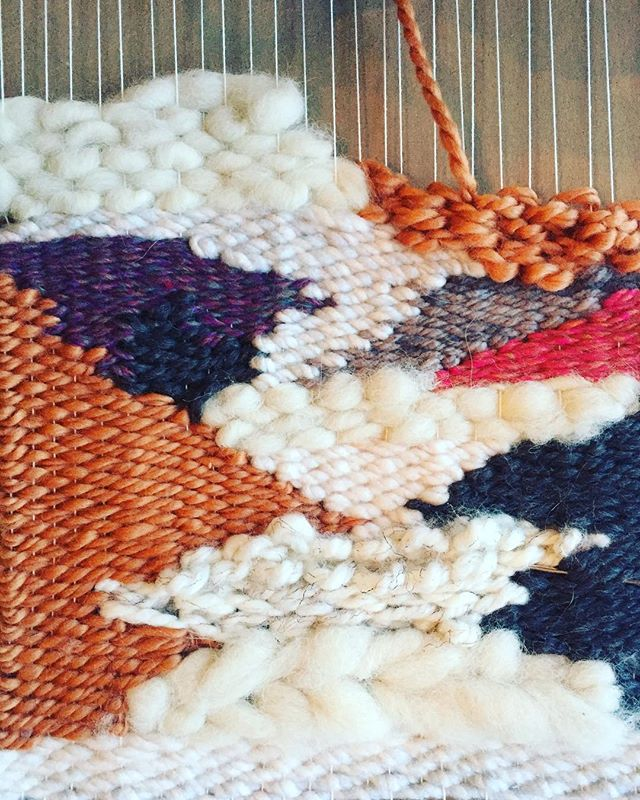 One of the many reasons I love teaching art is getting to try new things. Like weaving! It's every bit as relaxing as it seems. Work in progress, inspired by glaciers. . . . #wip #highschoolart #teachingart #trynewthings