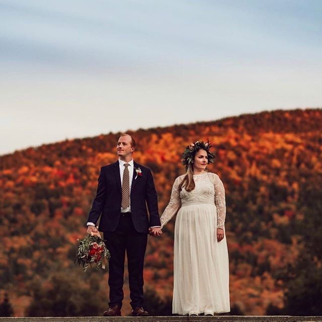 A preview by the incredible @celiakphoto of our Columbus Day Weekend wedding.  Dress: @bhldn  Florist: @lily_of_the_valley_florist_vt  Photographer: @celiakphoto  #TieTheKnotInManchesterVermont #fallwedding #foliage #columbusday #vermontwedding #manchestervermont #gorgeouscouple #bride #groom #weddingvenue #vtwedding