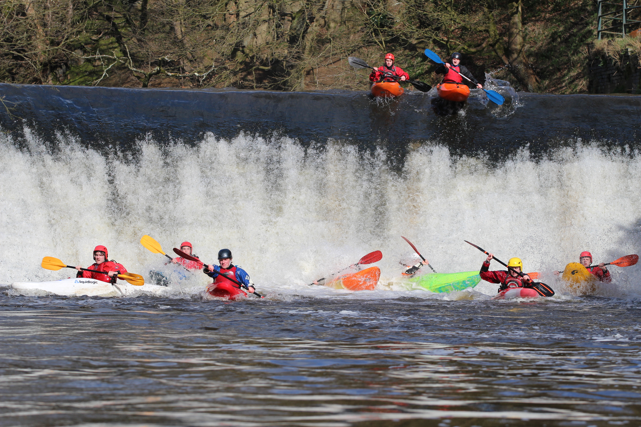 Down come the paddlers in the Fresher Boater cross