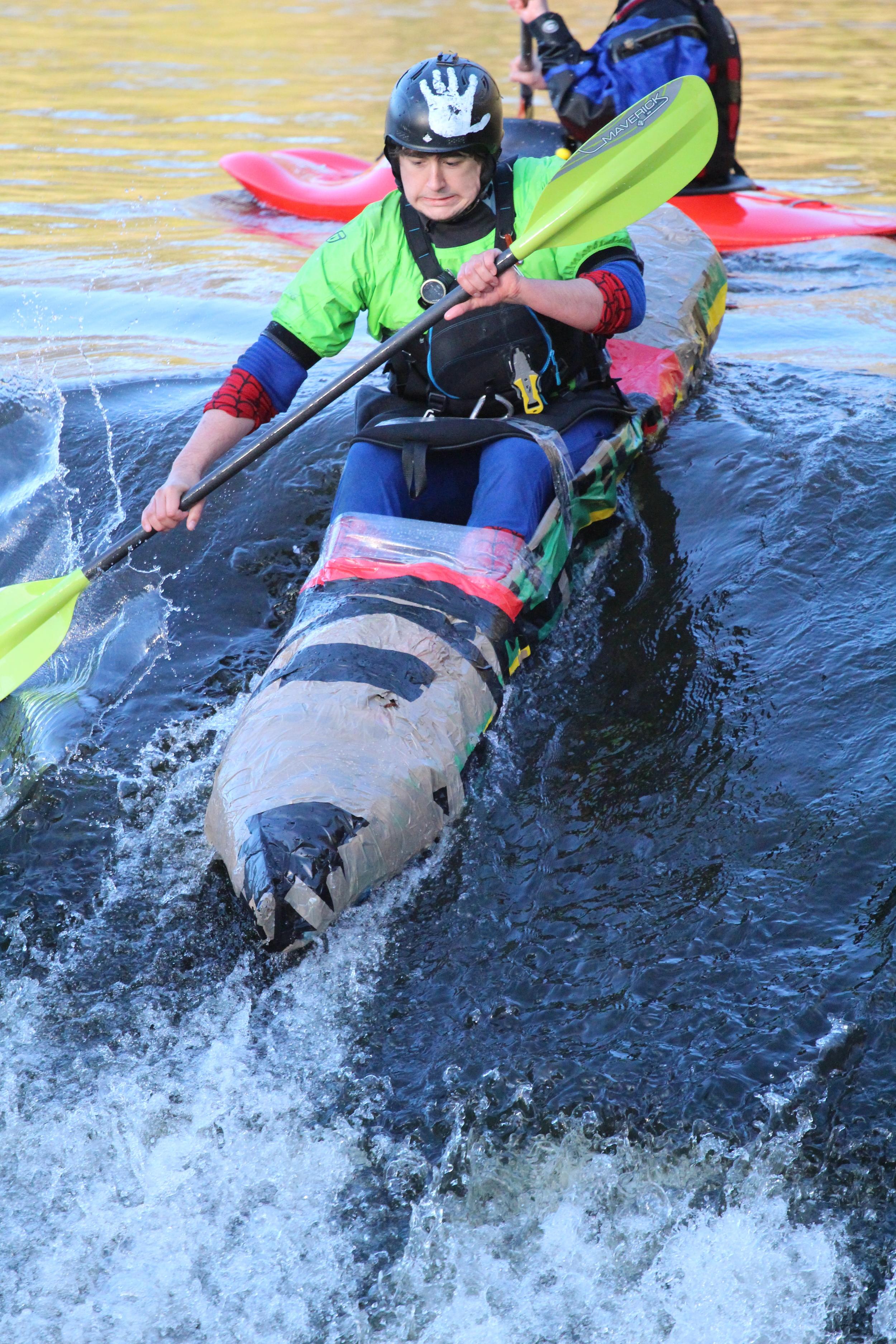 Jack in his fully HSE approved cardboard kayak