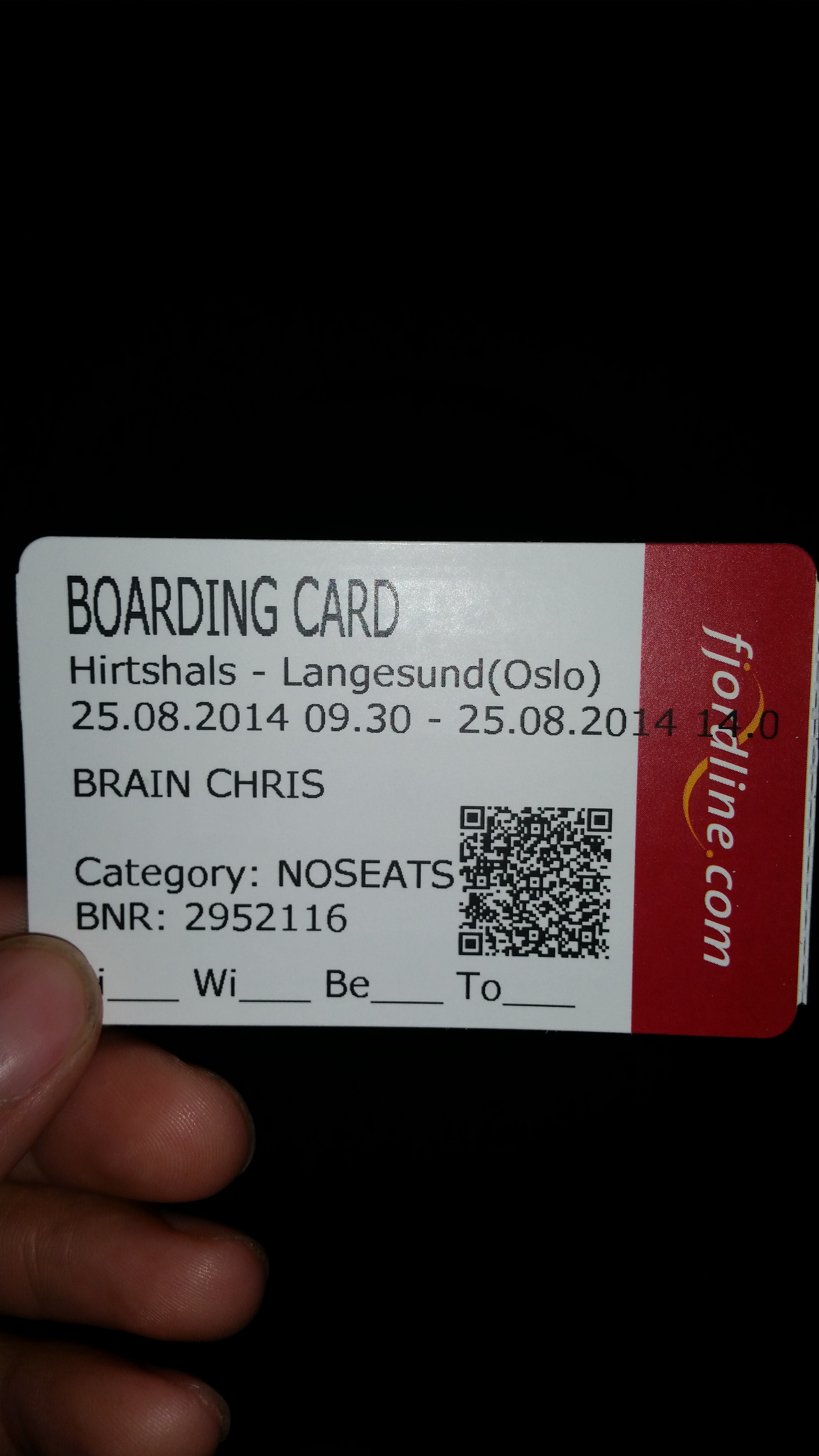 My boarding card!