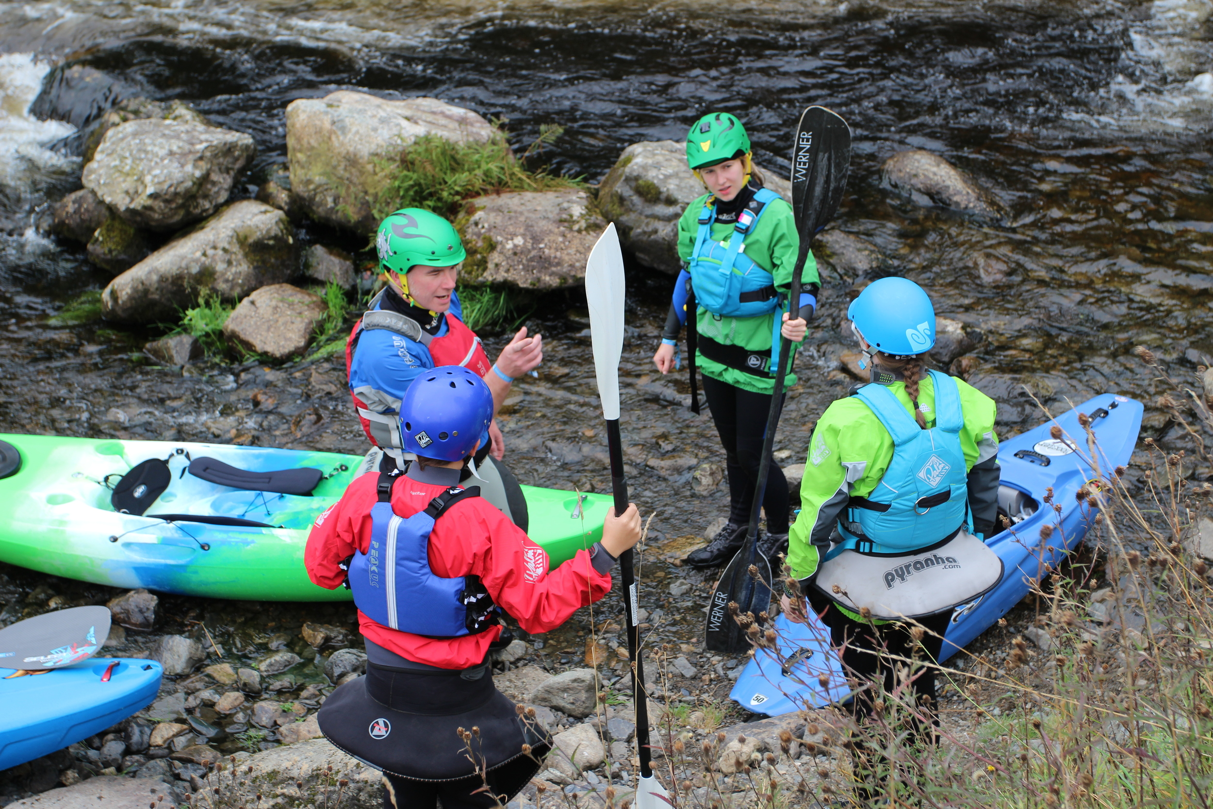 Paul Smith briefing his group before they get on the water at the Tryweryn