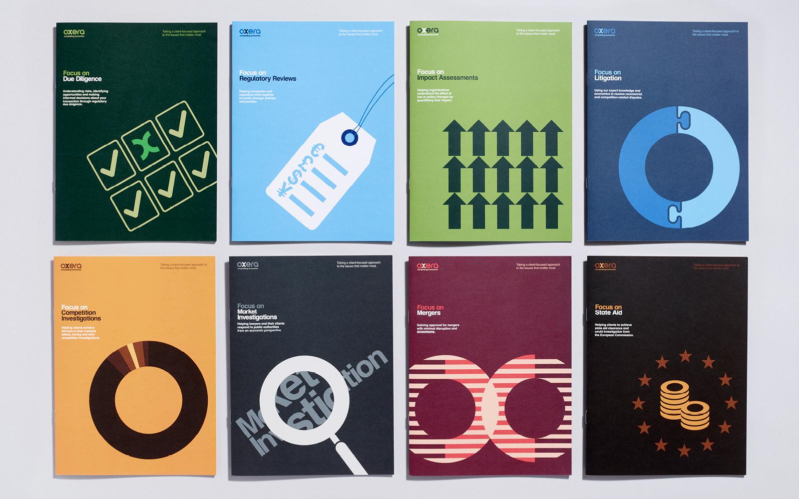 Set of client services brochures