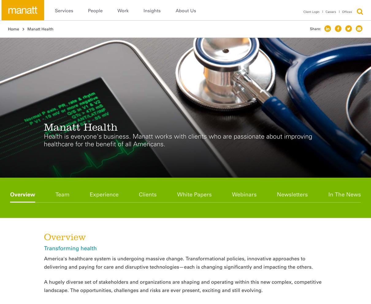 Mannatt Health page