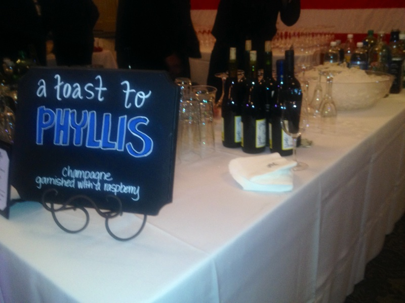 A toast to Phyllis, the signature drink of the night.