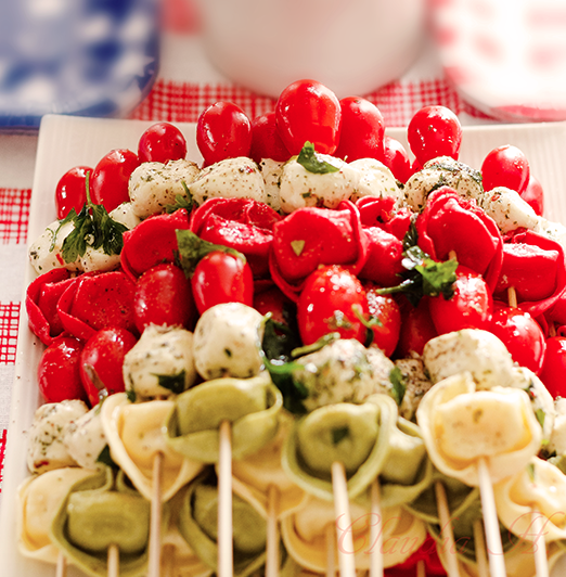 If you are short on time or looking for a healthy alternative, look no further than tortellini kabobs. Cook any kind of tortellini you like and add fresh cheeses, tomatoes and basil leaves to a skewer, yum!