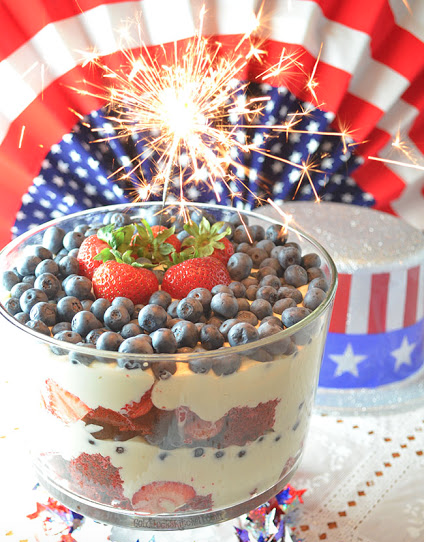 A red, white and blue trifle might be a fun and easy way to add a sweet treat to the table. Strawberries and blueberries with whipped cream or mousse incorporate colorful crowd pleasers into one delicious dish.