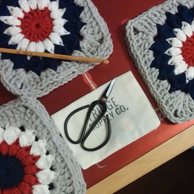 Granny squares from tilly4u, and her new  Fringe Supply Co. scissors !