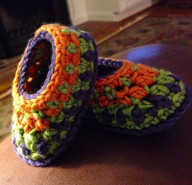 ' Galilee Booties ' designed by Tara Murray crocheted by the lovely ladies at  Woolworks Baltimore .
