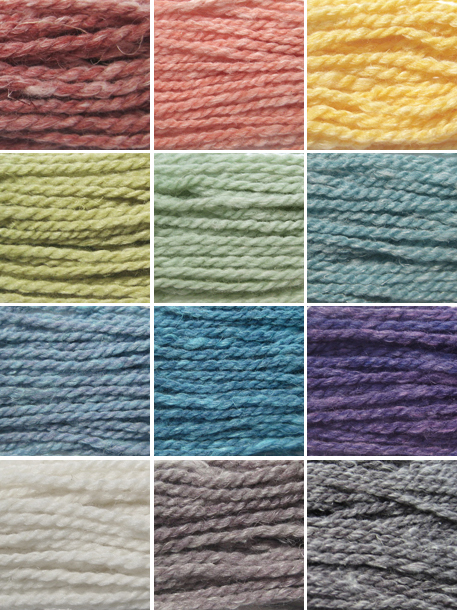From the top, left to right we have: Row 1:  Persimmon, Pink Grapefruit, Marigold Row 2:  Moss, Hickory, Seafoam Row 3:  Chambray, Bluegrass, Rum Raisin Row 4:  Natural, Sycamore, Slate