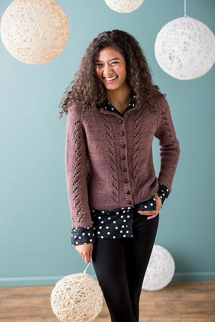Lupinius Cardigan by Beatrice Perron Dahlen featuring The Fibre Company Terra in Belladonna