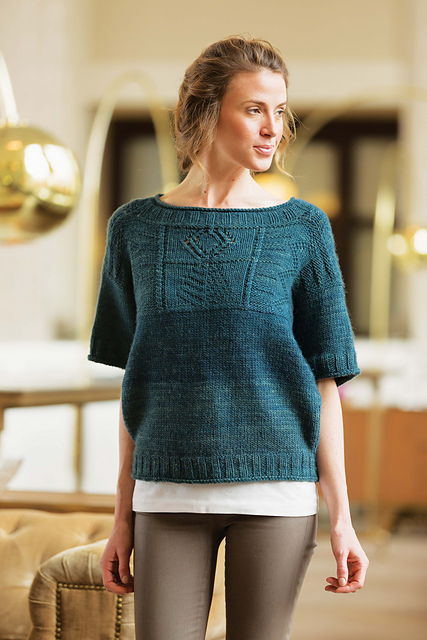 Eastbound Sweater from Courtney Kelley featuring The Fibre Company Organik in Night Sky. Available in the Spring 2015 issue of Interweave Knits.