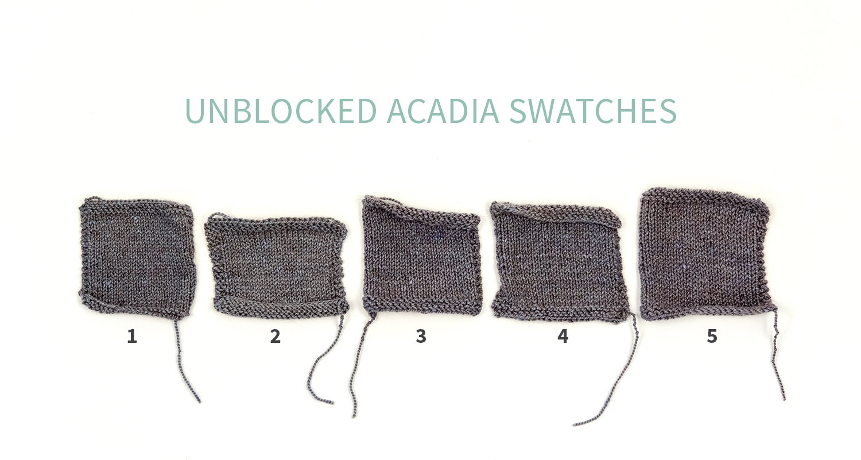 #KWswatchexperiment The Fibre Co. Acadia Unblocked Swatches