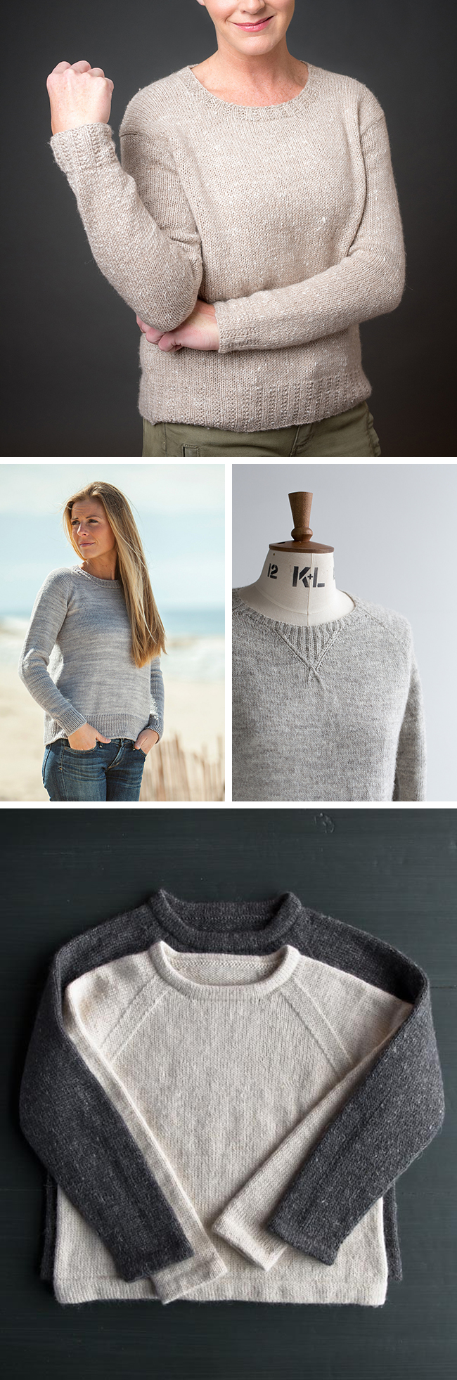 Top: Echo Lake  by Courtney Kelley / middle left:  Tide Chart  by Amy Miller /middle right:  Polwarth  by Ysolda Teague / bottom:  Classic Hemmed Crewneck  by Purl Soho  Image courtesy of Fringe Association.