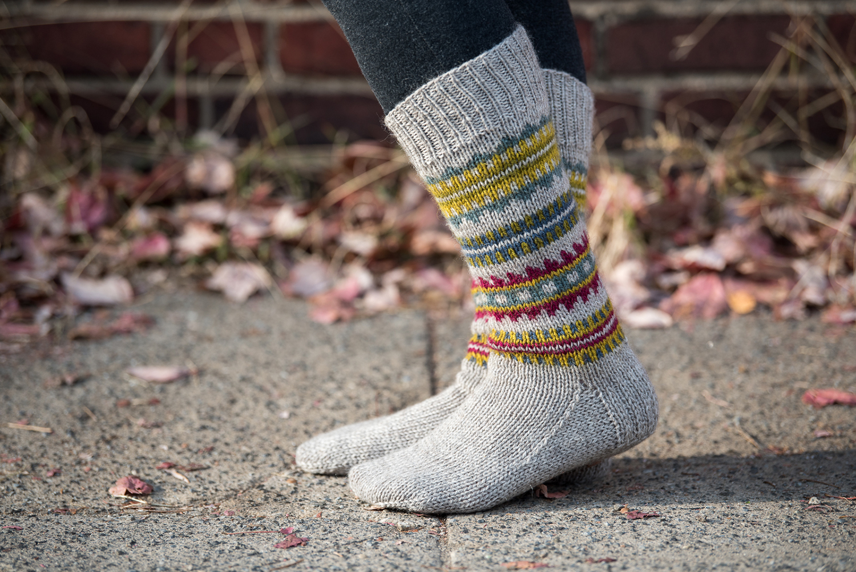 Skolt Sami Boot Socks in The Fibre Co. Cumbria