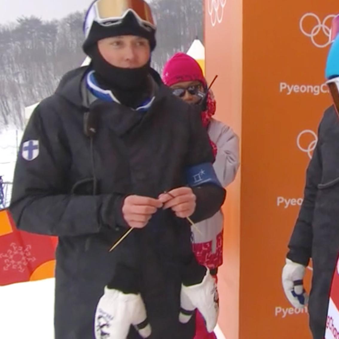 Finland Ski Coach Knitting!