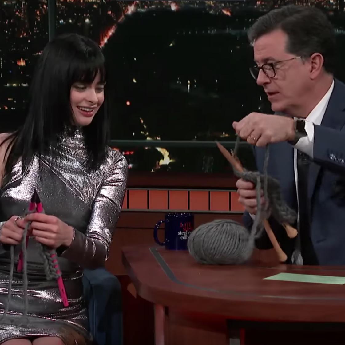 Krysten Ritter taught Stephen Colbert how to knit.
