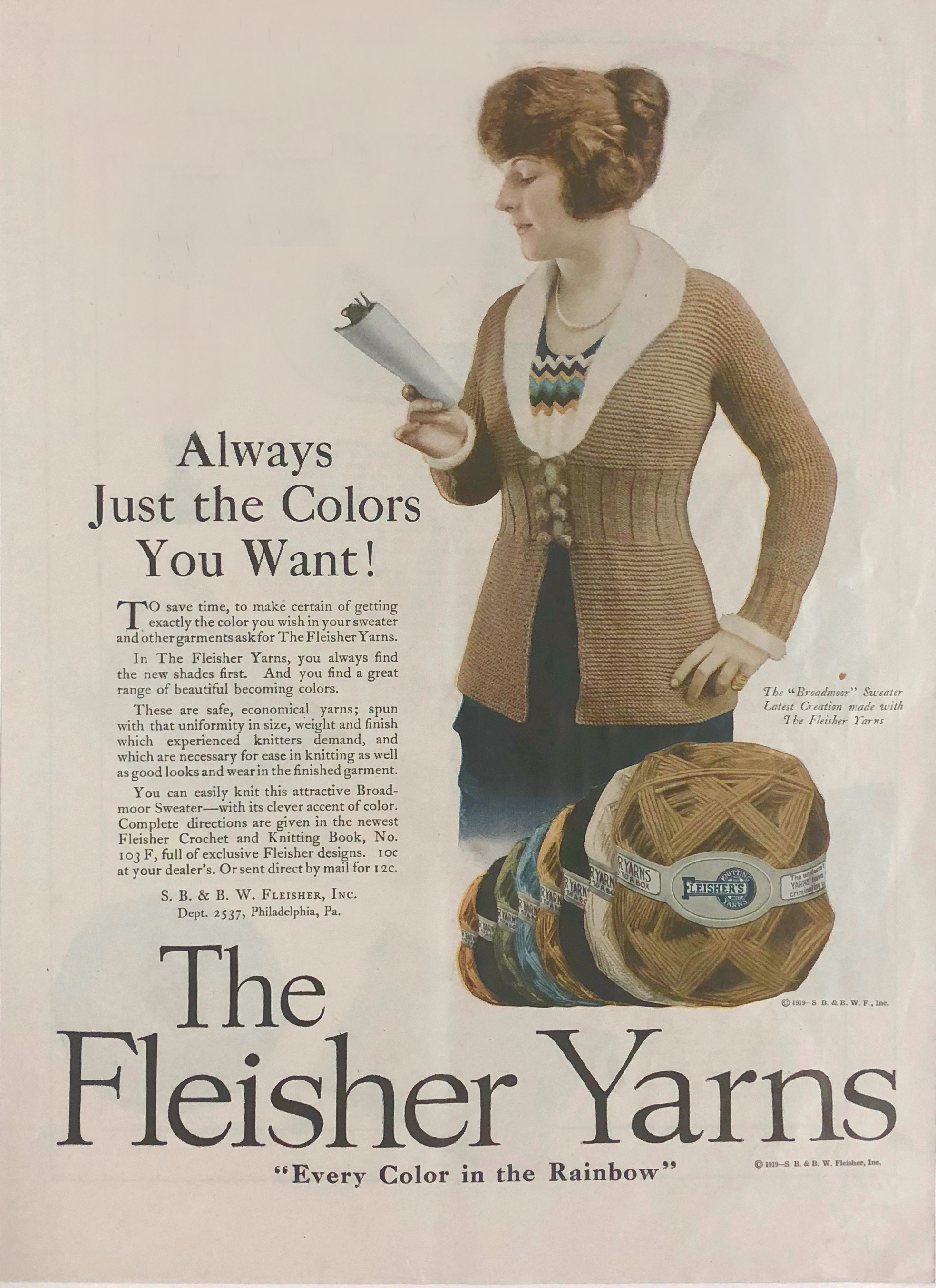 Fleisher Yarns ad from 1919  / Collection of Kelbourne Woolens.