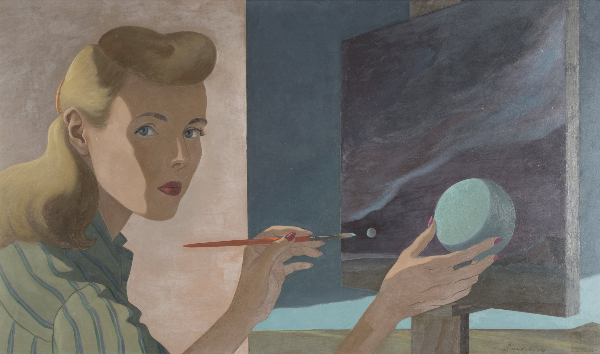 Helen Lundeberg  Self Portrait,  1944 Zimmerli Art Museum at Rutgers University Gift of The Lorser Feitelson and Helen Lundeberg Feitelson Arts Foundation © The Feitelson / Lundeberg Art Foundation Photo: Peter Jacobs
