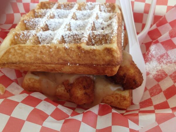 Chicken and Waffles, with Beaks signature Bacon Jam, Beaks made gravy all sandwiched between two Belgian Waffles