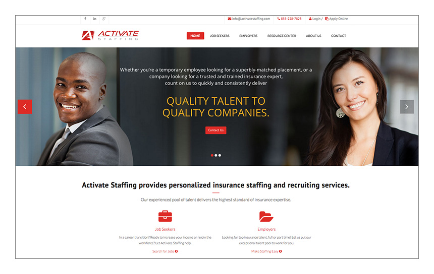 Magnetika Website Design: Activate Staffing