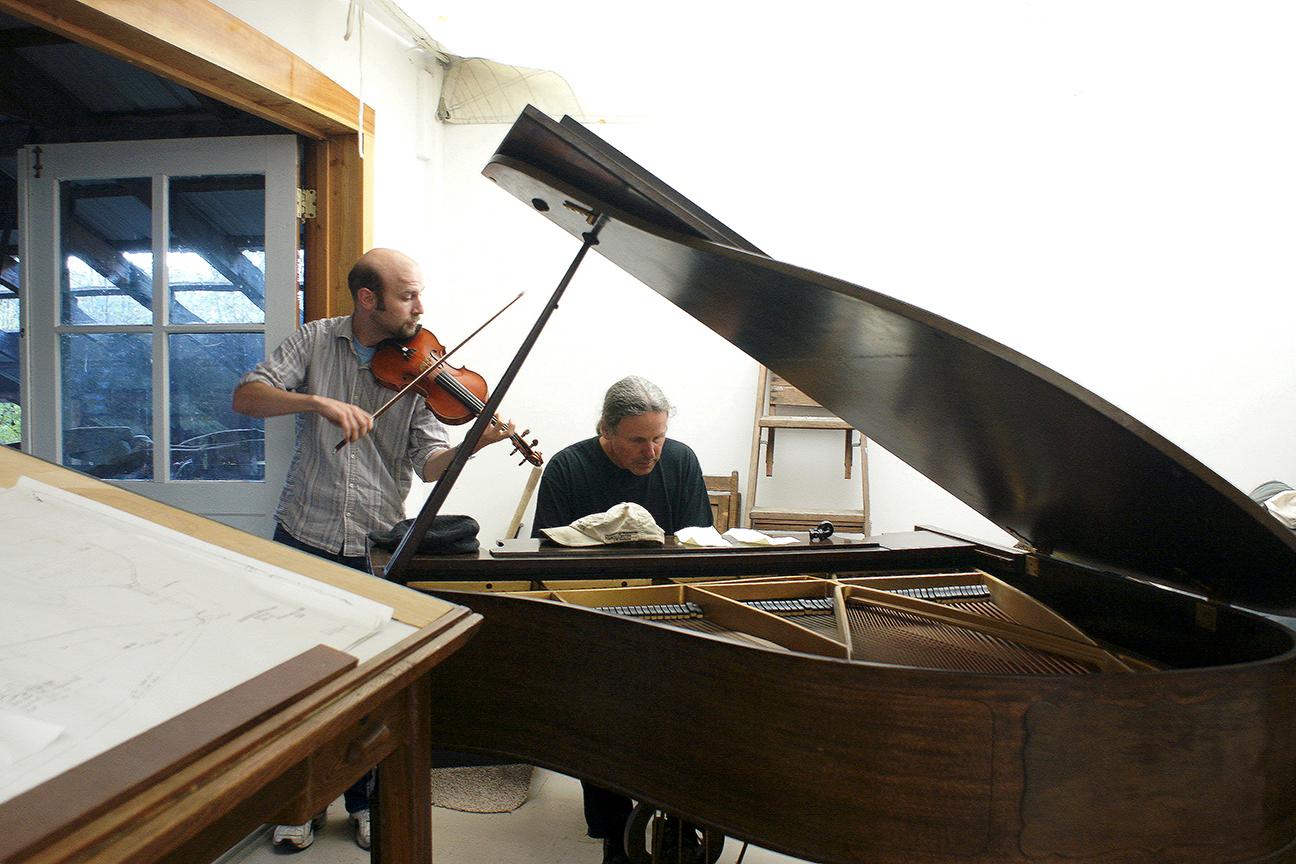 Scottish fiddler Brandon Vance & Mark Minkler at Deer Harbor Boatworks