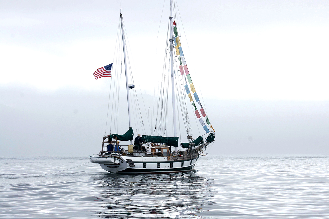 Cutty Sark heads into the fog crossing Rosario Strait