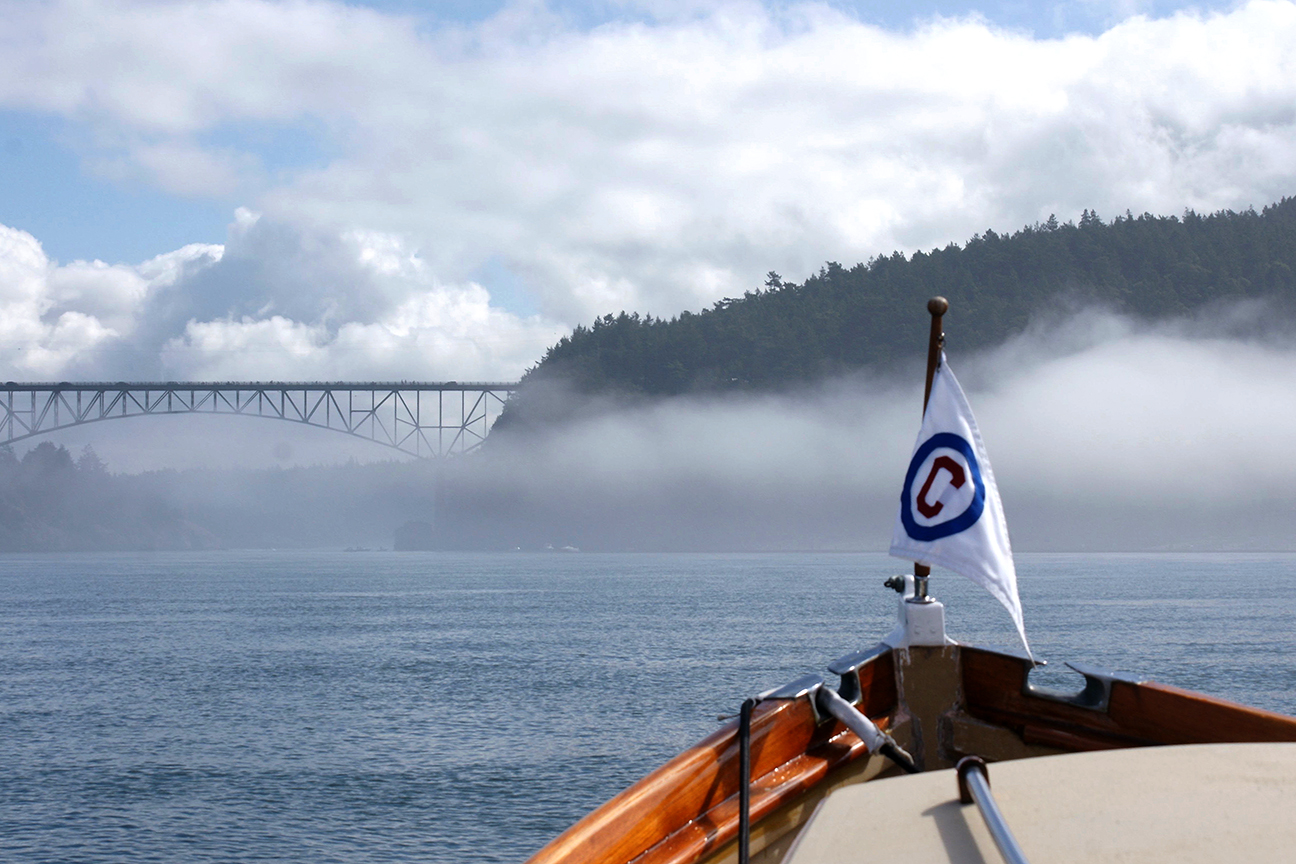 The fog lifted her skirts just in time for slack water