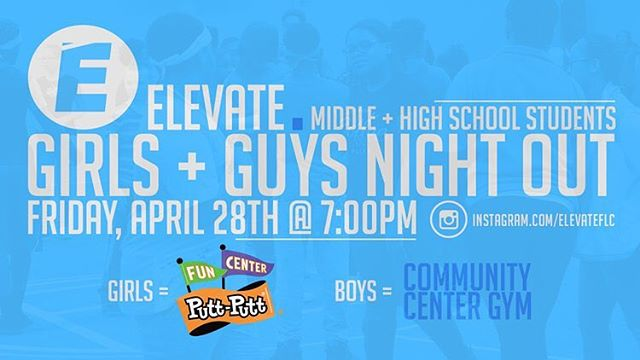 Girls and Guys Night Out this Friday with your youth leaders! The girls will be meeting at Putt Putt and the guys will meet at the Community Center Gym. If you didn't have a chance to sign up on Sunday, message us on here to let us know you're coming. Hope to see you there! 😃