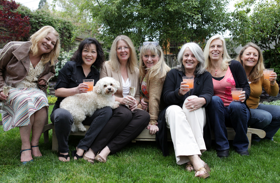 Blood Orange Margaritas and Prosecco! The Spice Girls minus three, plus Chester the Havanese boy, hangin' with the girls...:)