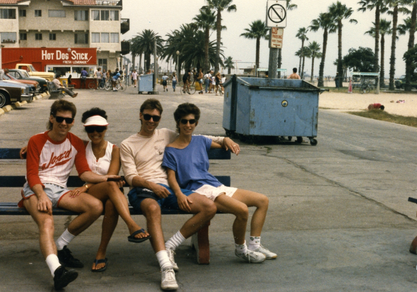 Fred & Holly Stickley, John & Pam Mahon at Venice Beach, sometime in the 1980's.