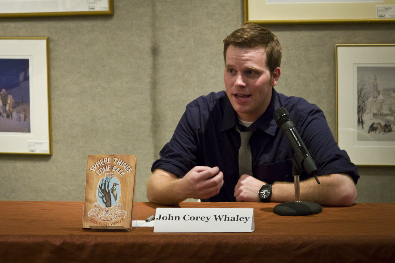 Whaley speaking at Books of Wonder, Manhattan, 2011