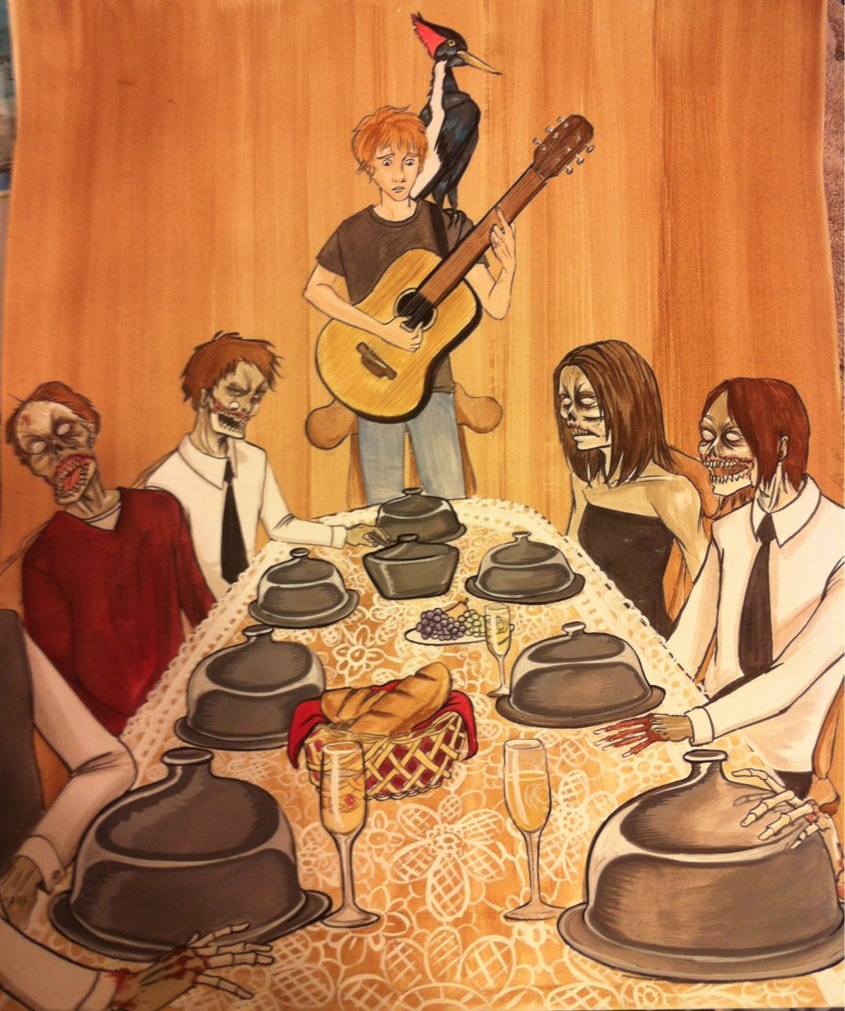 Fan art by Lindsay Brown of Zombie Dinner Party scene in WTCB.