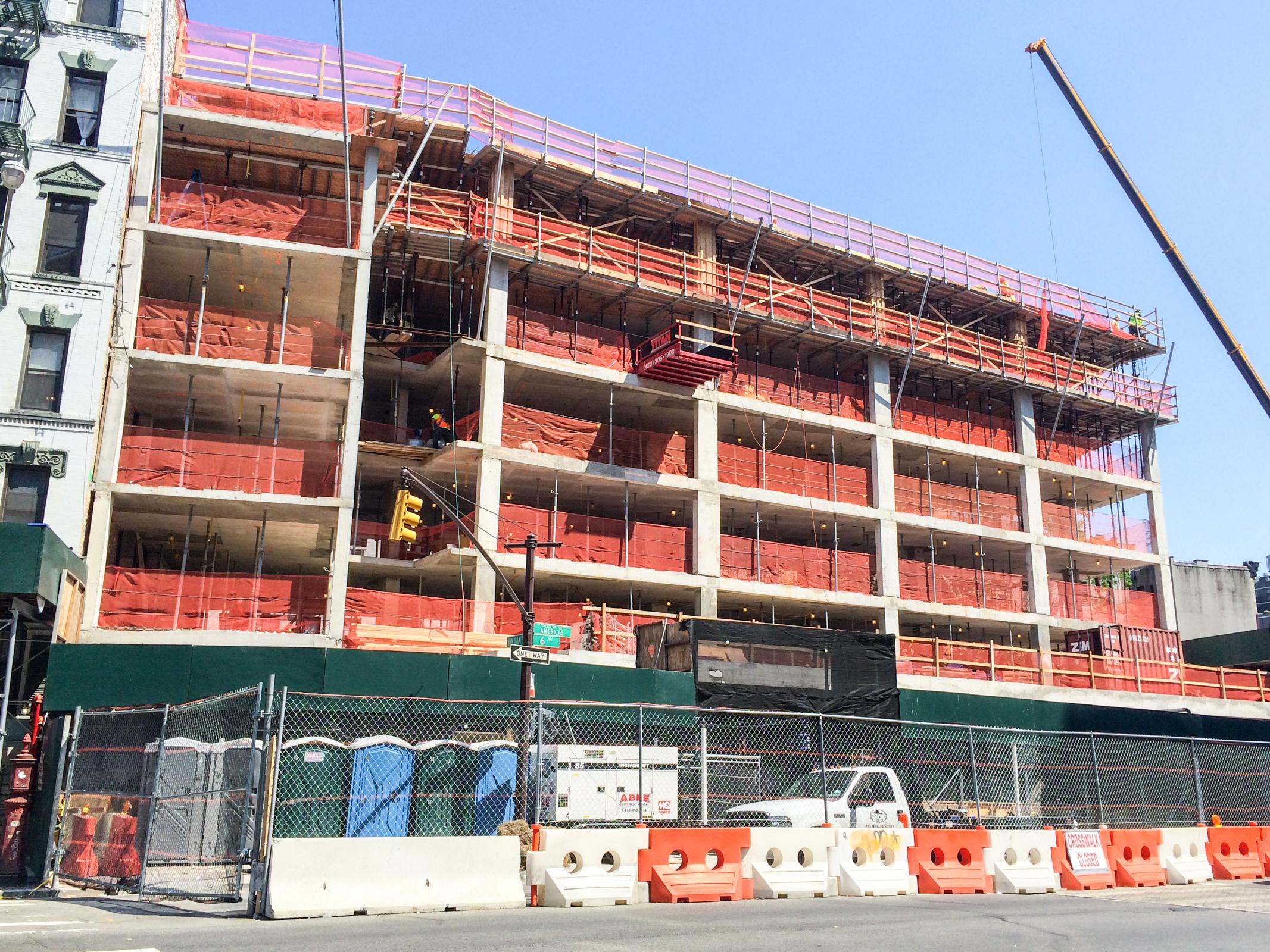 The west facade along Sixth Avenue.