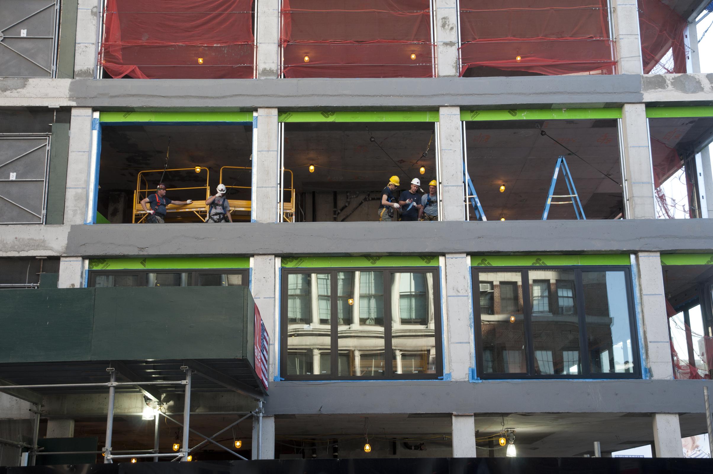 Window units on the second floor of the Bond Street facade.