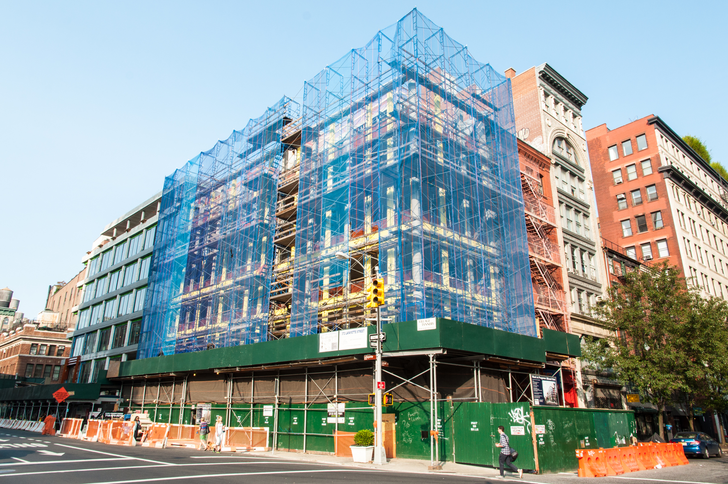 The northeast corner of 372 Lafayette (Morris Adjmi Architects) with 10 Bond to the left.