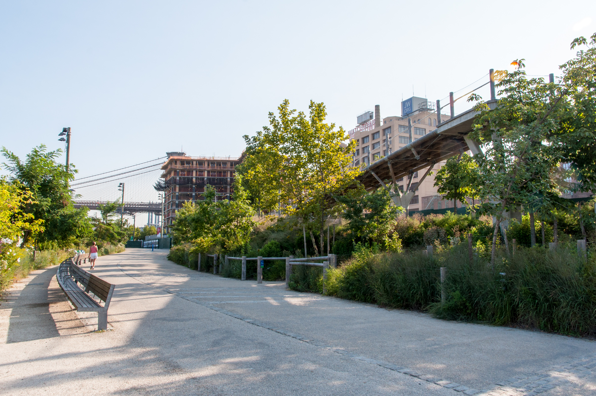 Looking north along the Brooklyn Bridge Park Greenway with Squibb Park Bridge to the right.